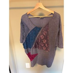 Free People Tops - Free People Oversized Lace Patchwork Tee